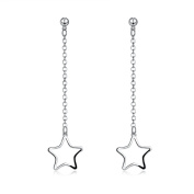 Lingduan 925 Sterling Silver Hollow Long Five-pointed Star Pentagram Jewellery Dangle Drop Earrings