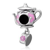 Teapot Set Charm 925 Silver Silver Tea Charm Cup Charm Magic Lamp Charm for DIY Charms Bracelet