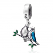 925 Sterling Silver Love Bird Charm Wife Husband Charm Pet Charm Anniversary Charm Valentine Charm for Pandora Charms Bracelet