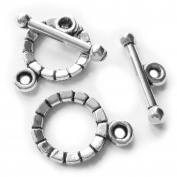 Heather's cf 70 Pieces Silver Tone Gearwheel Clasp Toggle Findings Jewellery Making 15X2/16X5mm