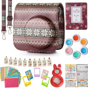 Flylther Fujifilm Instax Mini 8 8+ 9 Instant Flim Camera Accessories 8 in 1 Bundles Set (Case/ Albums/ Frames/ Film Stickers/ Filters ) - Knit Snow