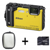 Nikon COOLPIX W300 Compact Digital Camera - Yellow + Case and 8GB Mermory Card (16.0 MP, CMOS Sensor, 5x Optical Zoom, Wi-Fi, NFC and GPS) 7.6cm LCD