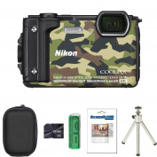 Nikon COOLPIX W300 Compact Digital Camera - Camouflage + Case + 8GB Card + Card Reader + Screen Protector and Tripod (16.0 MP, CMOS Sensor, 5x Optical Zoom, Wi-Fi, NFC and GPS) 7.6cm LCD