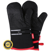 DEIK Oven Mitts, Non-slip Kitchen Mitts with Heat Resistant up to 464°F, Cooking Gloves Larger and Longer for Baking, Barbecue, Grilling, Black, 1 Pair