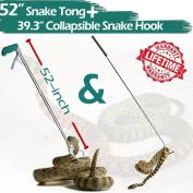 IC ICLOVER 130cm Snake Tong + 100cm Snake Hook, 130cm Upgrade Extra Long Professional Grabber & 100cm Collapsible Snake Hook, Best Tool Set for Moving Rattle Snake Corn Snake Kingsnakes Lizard Reptiles