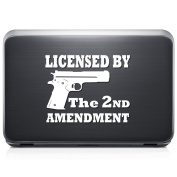 Gun Pistol Licenced By 2nd REMOVABLE Vinyl Decal Sticker For Laptop Tablet Helmet Windows Wall Decor Car Truck Motorcycle - Size (10 Inch / 25 Cm Wide) - Colour