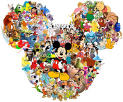 Disney Character Collage - For Dark-Coloured Materials - Iron On Heat Transfer 15cm x 13cm