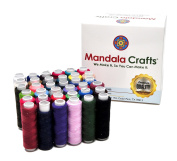 Mandala Crafts 36 Colour All Purpose Hand Machine Sewing Embroidery Polyester Thread Assortment Spools Kit