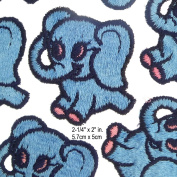 Blue Baby Elephant Embroidery Applique Vintage Sewing Patches Pack of 5 Pcs