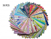 "levylisa Pre Cut Assorted Cotton Printed Fabric Patchwork Fabric Fat Quarter Bundle patchwork Quilting Fabric Sets Sewing Fabric Patchwork Flower Dots DIY quilting Handmade Craft 11.8"" x 11.8"""