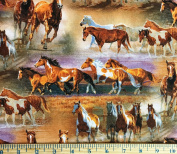 """1 Yard - """"Horse & Pony in the Field"""" Western Scenic Cotton Fabric - Designed by Chris Cummings (Great for Quilting, Sewing, Craft Projects, Throw Blankets & More) 1 Yard X 110cm"""