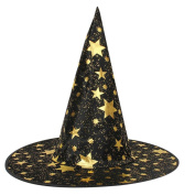 Cywulin Witch Hat,Fabric Adult Womens Mens Witch Hat for Halloween Costume Accessory Stars Print Star Cap for Parties Carnivals Halloween