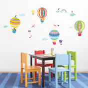 Decowall DA-1710B Hot Air Balloon Animals Peel and Stick Nursery Kids Wall Stickers Decals