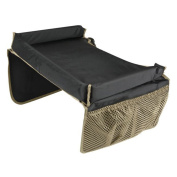 Travel Tray - Easy To Clean Nylon With Mesh Pockets, Cup Holder & Reinforced Sides. Keeps Snacks Off The Floor & In The Tray. Great for Car Trips, Plane Rides & More