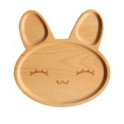 TRIEtree Kids Woody Sub-Grid Plate Cartoon Pattern Lovely Rabbit Tray
