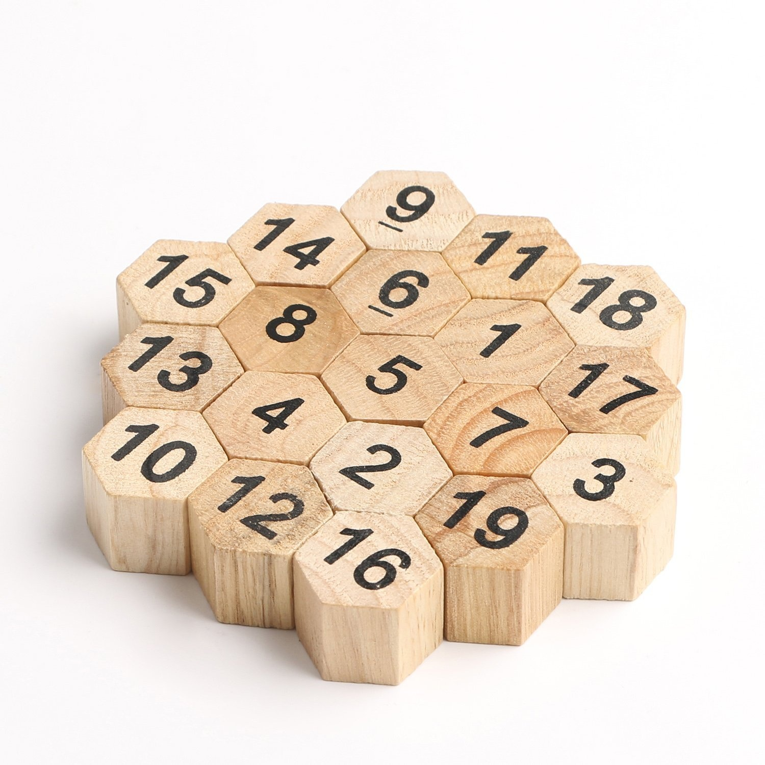 Wooden Puzzles Classic Brain Teaser Hexagon 19 Number Jigsaw Sum