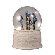 4 Blue Jays on an Apsen Tree Water Globe San Francisco Music Box