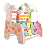 Multifunctional Early Children Educational Wooden Deer Toy, Numbers and Arithmetic Learning, Abacus and Classic Bead Maze - Small Wood Roller Coaster Sliding for Babies, Toddlers Activity Cube