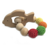 Amyster Crochet Bead Teething Ring Set Untreated Maple Teether with Organic Wood Toy Wood Bracelet Baby Mom Kids Wooden Teether Bangle