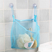 Baby Shower Bag, Essort Bath Toy Organiser Mesh Net Toy Storage Bag For Baby Boys Girls With Two Suction Cups, Portable Mesh Shower Caddies Tote, Toiletry and Bathroom Organiser Blue