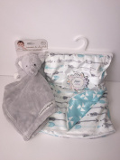 Hippie Baby Plush Blanket & Security Blanket Elephant White and Blue Baby Shower Gift Set