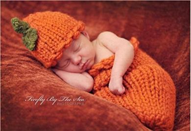 Zehui Halloween Pumpkins Knitted Crochet Hat Sleeping Bag Photography Prop 0 to 1 Month Baby
