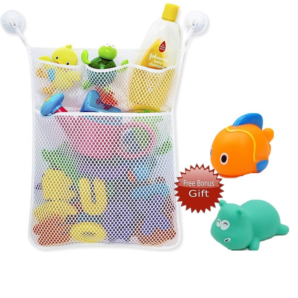 Bath Time Tidy Storage Toy Suction Cup Bag Mesh Bathroom Organiser Net OQ