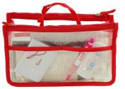 WODISON Travel Tote Clear Cosmetic Makeup Handbag Insert Purse Organiser Bag in Bag Red