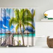 Nesee Digital Print Waterproof and Mildewproof Shower Curtain