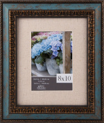 Gallery Solutions 8X10 Distressed Turquoise W/Antique Gold Accent and 5X7 Linen Matting Frame, Blue