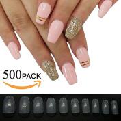 500pcs Coffin Nails Nail Tips Full Cover Acrylic False Nails 10 Sizes- Perfect for Nail Salons and DIY Nail Art Learner