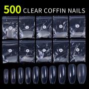 Azure Beauty 500pcs Coffin Nails Clear Ballerina Nail Tips Full Cover Acrylic False Nails 10 Sizes