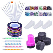Yimart Nail Arts Kit with Nail Art Brushes Painting Dotting Pen Tools, 12 Colours Nail Rhinestones,Assorted Colours Nail Striping Tape and Gradient Nails Sponge