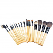 CSB 18PCS Makeup Brush Set with PU Leather Bag Soft & Silky Fine Synthetic Hair Wood Handle