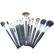 CSB 18PCS Makeup Brush Set with PU Leather Bag Natural Hair Wood Handle