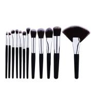 Mezerdoo Professional Makeup Brushes Set 12pcs Make up Fan Brush Tools Kit Black SIlver