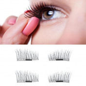 Odeer 2017 4pcs Ultra-thin 0.5mm Magnetic Eye Lashes 3D Reusable False Magnet Eyelashes Black