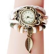 Fashion Watches ,Women Children Retro LeatherWinding Bracelet Leaf Pendant Watch
