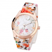 Fashion Watches ,Women Girl Watch Silicone Printed Flower Causal Quartz WristWatches