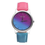 Fashion Watches ,Retro Rainbow Design Leather Band Analogue Alloy Quartz Wrist Watch