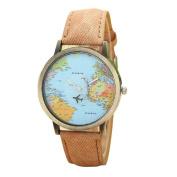 Fashion Watches ,Fashion Global Travel By Plane Map Women Dress Watch Denim Fabric Band