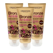 3 x CREIGHTONS BRONZE AMBITION FAKE DONT BAKE NATURAL LOOK TANNING CREAM