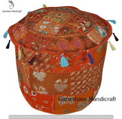 Decorative Patchwork Ottoman, Home Decor Patchwork Foot Stool Cover, Handmade Home Chair Cover Indian Bean Bag Indian Vintage Ottoman Pouffe Cover
