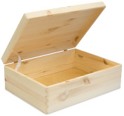 Universal Wooden Box with Lid for Storage – Untreated Natural Pine – Approx 40 x 30 x 14 cm with Grin Logo Card