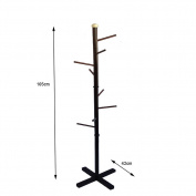 ZJM- Wood Clothes Tree Simple Hatstand Coatrack Hat Rack Cycle Base 165cm