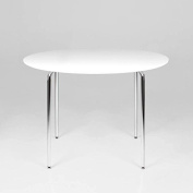 lounge-zone Children's Table Character Colouring Art Play Wooden Kids' Furniture Kid's Room Child kindgerecht Robust Easy-Care Marcus Wood White Chrome Feet Round Diameter 60CM Height 47CM #4190