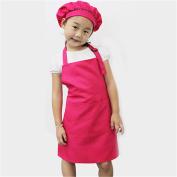 Gloryhonor Children Kid Cooking Baking Painting Cooking Art Craft Plain Apron Pocket Bib - Pink