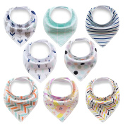 Baby Bibs 8-Pack Drool Bandana ,Hypoallergenic Unisex Gift Set for Drooling and Teething, 100% Organic Cotton, Soft and Absorbent for Boys and Girls