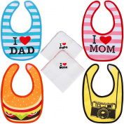 Lictin Set of 4 Waterproof Unisex Baby Bib for Infant Toddler 100% Cotton from 0 Months to 12 Years Old I love Mom & Dad Design with 2pcs Baby Handkerchief