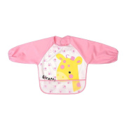 CosCosX 1 PCS Long Sleeve Waterproof Coverall Baby Bibs Toddler Scarf Feeding Smock for 0-3 Years Baby, Pink Giraffe